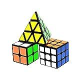lunaoo Speed Cube Set Magic Cube 3 Piezas 2x2 3x3 Pyraminx, Cubo Magico Puzzle 3D Rompecabezas Regalos de Juguetes para Niños y Adultos