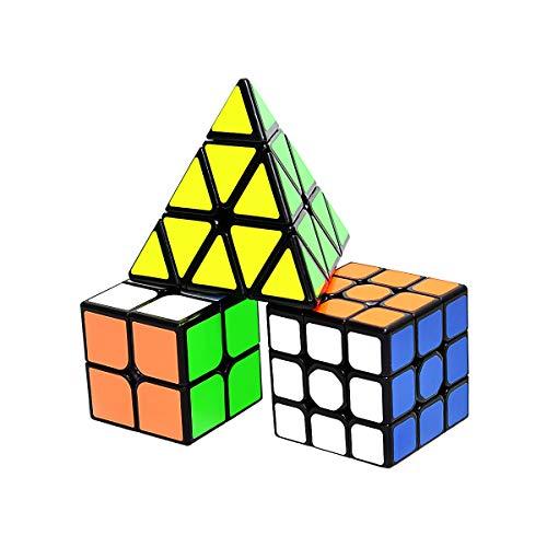 lunaoo Zauberwürfel Set, Cube Set 2x2 3x3 Pyraminx, Speedcube Magic Speed Cube Puzzle Würfel, Spielzeug Geschenke für Kinder, 3 Stück