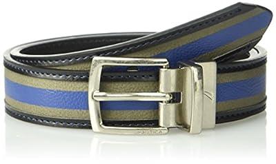 """Nautica Boys' Big 1"""" Wide Varsity Wool Reversible Black Belt, Grey/Blue, 26"""