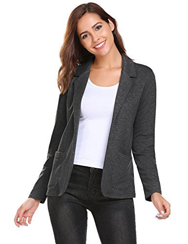 Zeagoo Womens Casual Work Office Blazer Open Front Long Sleeve Cardigan Jacket,Black Grey,Large
