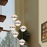 KBEST Escalera Pasillo Lámpara Colgante Cristal Bola Luz Colgante De Techo Moderno Creativo LED Regulable Sala De Estar Comedor Araña Loft Hall Hotel Tienda Decoración Lámpara,6Light
