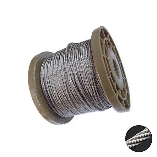 XIOFYA Cable de elevación de acero inoxidable 304 de 5 metros, 2 mm, 3 mm, 4 mm, 5 mm, 6 mm, 8 mm de diámetro, cuerda de acero inoxidable