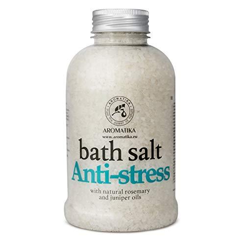 Badesalz Anti Stress 600 g - Meersalz mit Natürlichem Ätherischen Rosmarinöl und Wacholderöl - Natur am Besten für Guten Schlaf - Baden - Körperpflege -Wellness - Entspannung - Spa - Badezusatz
