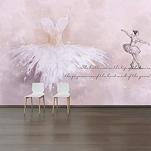 Papel Pintado Pared Moderno Fotomurales Bailarina Rosa 350X250Cm 3D No-Trenzado Salón Dormitorio Despacho Pasillo Decoración Murales Decoración De Paredes Moderna