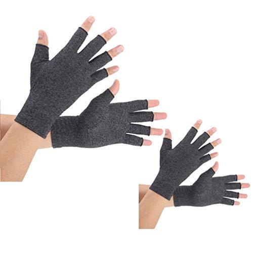 2 Paare Arthritis Handschuhe, Unterstützung für Kompressionshandschuhe und Wärme für Hände, Linderung von Schmerzen bei Rheumatoiden, Arthrose, RSI, Karpaltunnel, Sehnenentzündung(Schwarz,L)