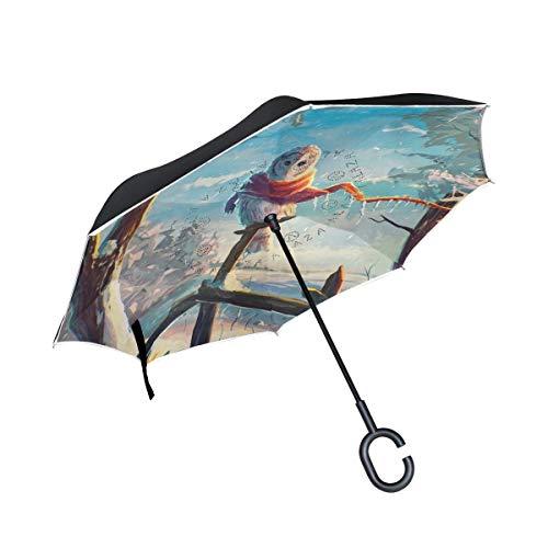 Rode omkeerder voor paraplu's buiten, zand, dubbele laag, omgekeerd, met lak in C-vorm van handgrepen, olieverfschilderij, schattige uil, winddicht