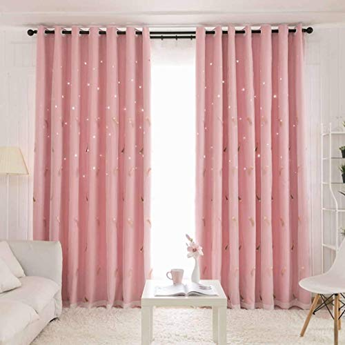 PLEASUR Blackout Curtain, Double Layer Sheer Voile Drapes Thermal Insulated Opaque Decorative with Grommets Window Treatment Suitable for Patio Living Room Bedroom-150x270cm(59x106inch)-Pink 1 Panel
