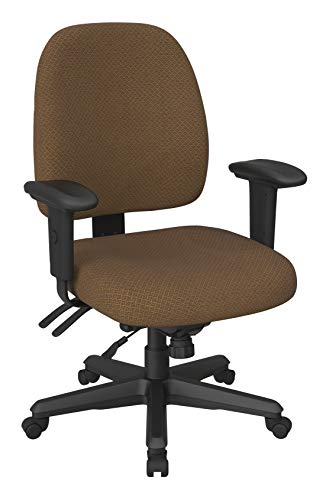 Office Star Back Mid Ergonomic Office Desk Chair with Adjustable Height, Tilt, and Padded Arm Rests, Interlink Autumn Fabric