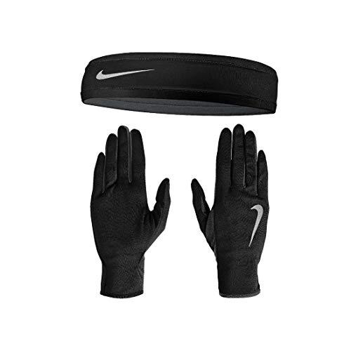 Nike Men's Run Dry Headband and Glove Set Black/Anthracite/Silver S/M
