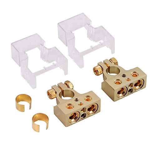 AUTOUTLET Kit Connettori Terminali morsetti per Batterie Auto,Morsetti e spessori terminali batteria positiva / negativa AWG calibro 0/4/8 o 10 (coppia) +/- Terminali batteria oro