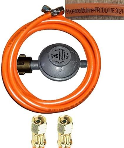 TGO Regulador de presión de 50 mbar + manguera de gas propano de 300 cm (3 m) con 2 tuercas de unión izquierda de 1/4 pulgadas.