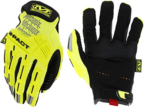 Mechanix Wear Size 10 Hi-Viz Yellow M-Pact Synthetic Leather And TrekDry Full Finger Anti-Vibration Gloves With Hook And Loop Cuff