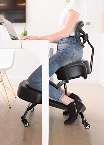 SLEEKFORM Ergonomic Kneeling Chair | Posture Correction Kneel Stool | Orthopedic Spine Support for Back Pain Relief | Adjustable for Computer Desk with Upright Backrest, Handles & Thick Knees Cushions