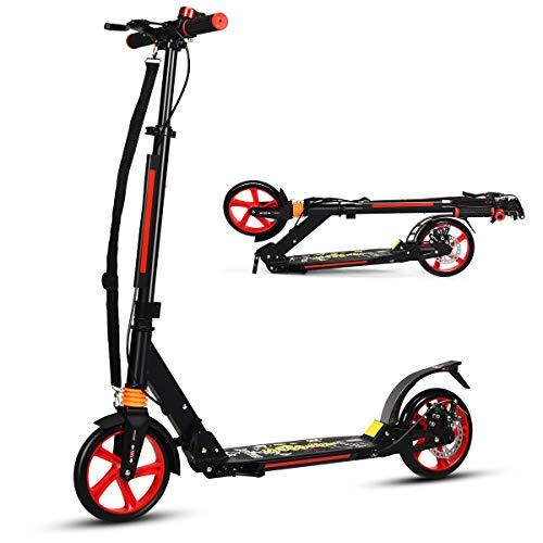 COSTWAY Monopattino Pieghevole a 2 Ruote Scooter per Adulti e Bambini Altezza Regolabile, Ruote Grandi, con Freno a Mano e Pedale, Alluminio, per 8+ Anni (Nero)