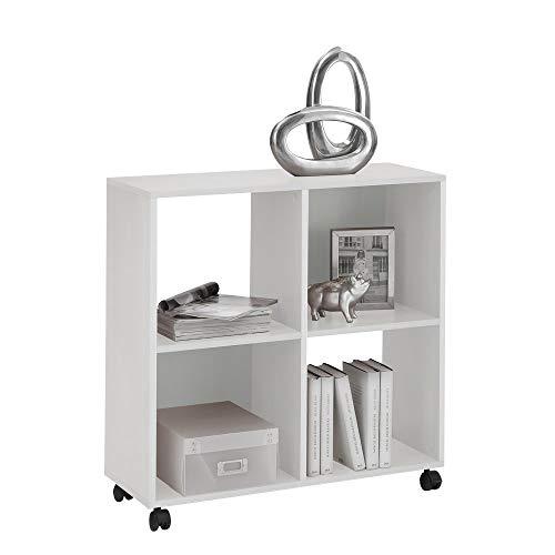 FMD furniture Büroregal Bücherregal auf Rollen ideal für A4 Ordner, Weiß, 72 x 77 x 33 cm (BxHxT)