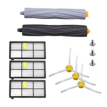 Powerextra Replacement Accessory Kit for Roomba 800 Series 850 860 861 866 870 880 890 900 Series 960 980 981,3 Filter,3 Side Brush,1 Tangle-Free Debris Extractor