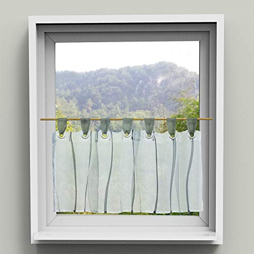 HongYa Scheibengardine transparenter Voile Bistrogardine mit Schlaufen Wellen Muster H/B 45/120 cm Grau