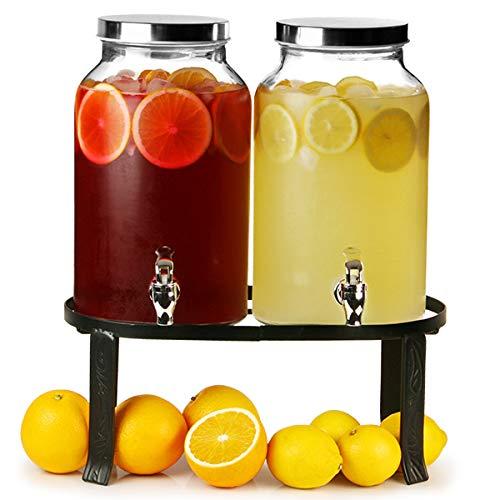bar@drinkstuff - Dispensador de bebidas doble estilo jarra Mason con soporte, 10 l, para zumos, cócteles, etc.