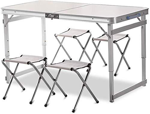 HJTLK Mesa de Picnic Plegable de Aluminio con 4 Bancos,4 Personas,Altura Ajustable,portátil,Mesa de Camping y sillas,Juego para Oficina,jardín,Exterior,Camping,Comedor,Barbacoa