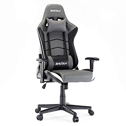 BHUTAN Gaming Chair Racing Office Chair Executive Ergonomic Swivel Task Chair PC Computer Desk Chair Reclining High Back with Retractable Arms Headrest&Lumbar Pillows(Grey, 1L)