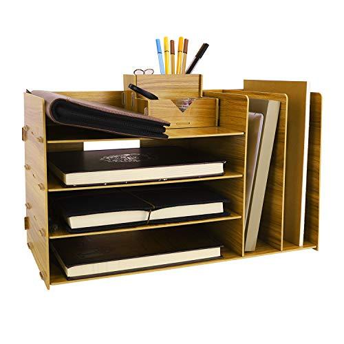 Desk Organizer Wood File Mail Sorter Desk Shelves Racks Magazine Holder Files Folder Racks Paper Tray Rack Desktop Mail Rack Pencil Files Holder Paper Tray for Office Supplies 4 Tiers