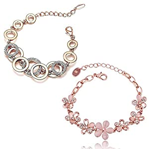 Shining Diva Fashion Latest Collection Gold Plated Combo of 2 Bracelet for Women and Girls (Rose Gold) (cmb285_8306b_9556b)