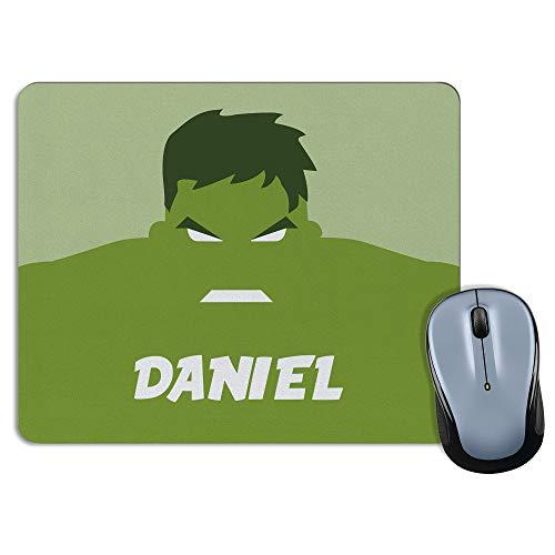 LolaPix Alfombrilla Raton Hulk Personalizada con Nombre. Regalos Personalizados Superhéroes. Varios Modelos. Forma Rectangular. Rectangular. Hulk