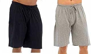 Best Deals Direct UK Mens Twin Pack Lounge Shorts Stretch Jersey Sleep Night Wear Pyjamas PJ Bottoms (Large, Black & Grey)