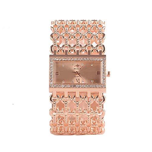 Wicemoon Reloj de mujer Banda de acero hueca Reloj de pulsera de malla cuadrada Reloj de joyería vintage con puño ajustable (Oro Rosado)