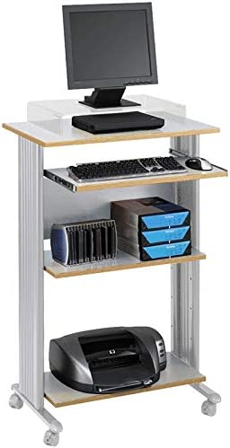 Pemberly Row half Standing Computer Gray Cart in Workstation online shopping