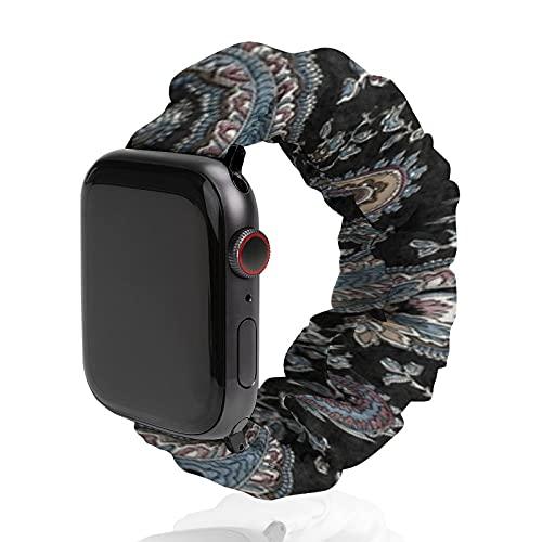 Correa de repuesto para hombre y mujer, compatible con Apple Watch de 42 mm/44 mm, suave y elástica para iWatch Series SE 6/5/4/3/2/1, Henry Paisley negro