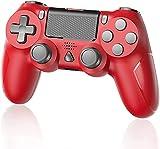 YTEAM Controlador inalámbrico para PS4, mando para consola PS4, PS4 Slim, PS4 Pro, motor doble, motion, giroscopio de 6 ejes, color rojo