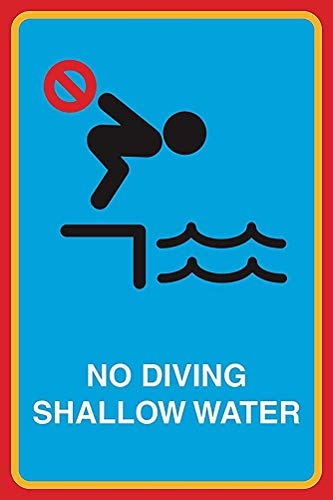 """DKISEE Metall-Blechschild aus Aluminium mit Aufschrift """"No Diving Shallow Water"""", für den Mann beim Schwimmen, Hinweis, Sicherheit im Pool, Business-Schild, 25,4 x 35,6 cm"""
