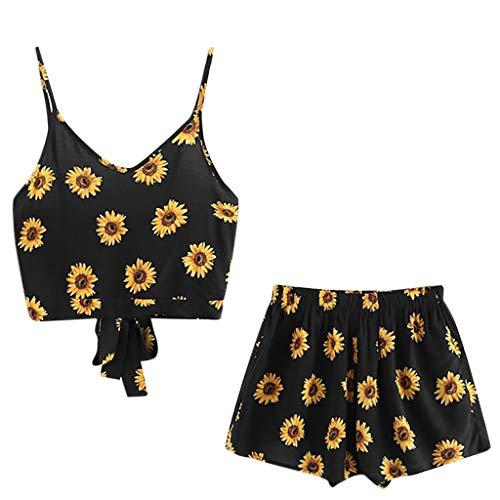 TUDUZ Shorts und Top Sets Damen Sommer Strand Zweiteiler Schulterfrei Sunflower Printed Beachwear Chiffon Boho Ärmellos Crop Tops (Schwarz -A, S)