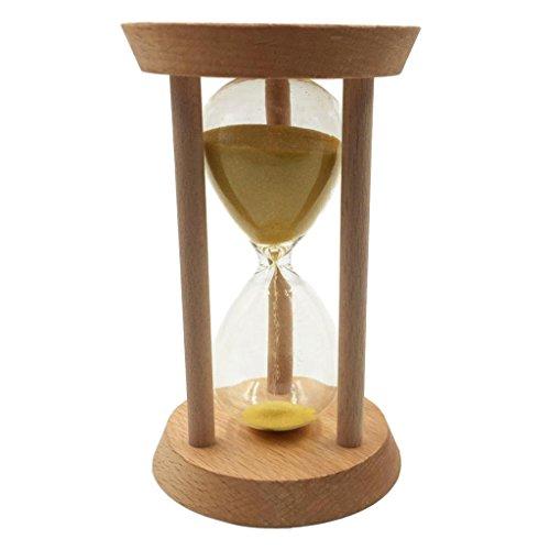 Sharplace 15/20/30 Minutes Sablier avec Cadre et Minuteur en Bois pour Cuisiner Masque, Yoga, Jeux, Brossage, etc. - Jaune, 30 Minutes