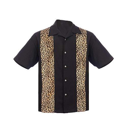 Steady Clothing Men's Bowling Shirt Fuzzy Leopard Panel (M) Black