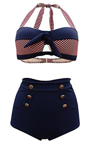 HONGYISWIN Damen Bunt Retro Pinup Vintage Streifen Bikini mit Hoher Taille Bademode Badeanzug Rot XX-Large