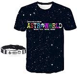 Astroworld Camiseta Sonrisa Pulsera Tierra Gira Concierto Hip Hop Pulsera Traje Manga Corta Rap/D/S