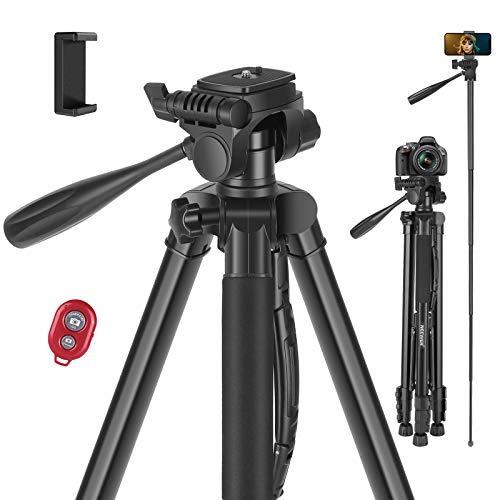 Neewer Camera Tripod, 2-in-1 Aluminum Alloy Tripod Monopod, Max. 72.8'/185 cm with 3-Way Swivel Pan Head, Phone Clip, Wireless Selfie Remote and Carrying Bag for DSLR Camera, DV Video Camcorder