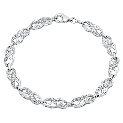 Dazzlingrock Collection 0.25 Carat (ctw) Round White Diamond Ladies Infinity Tennis Link Bracelet 1/4 CT, Sterling Silver