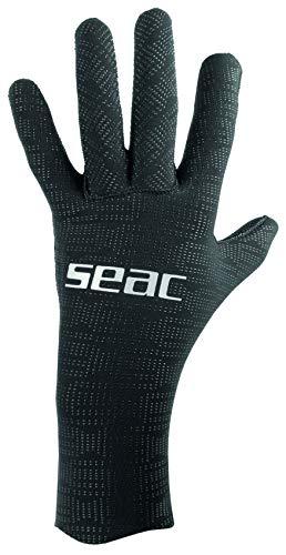 SEAC Ultraflex, 2 mm Ultra-Elastic Neoprene Gloves for Diving and Spearfishing, Anti-Slip, Black, Small