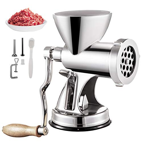 VBENLEM Manual Meat Grinder 304 Stainless Steel Hand Suction Cup Base & Clamp with Filling Nozzle for Vegetables Grinding & Sausage Stuffing, 6.7x6x9.6inch, Sliver