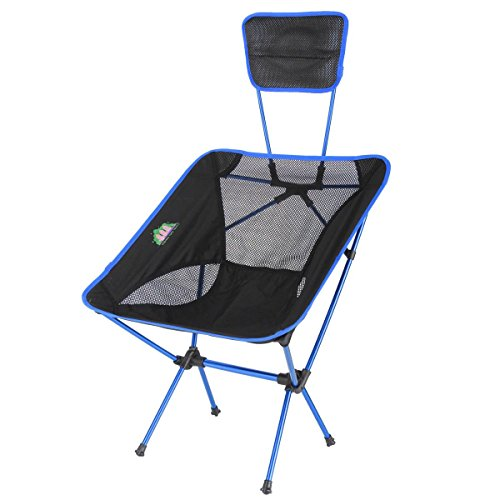 KING DO WAY Portable Ultralight Outdoor/Fishing Folding Sports Chairs Ground Chair with Back Cushion Royal Blue