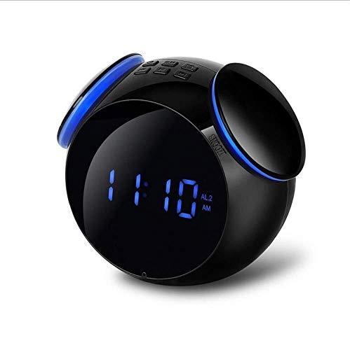 Kaper Go Mini Wireless Bluetooth 4.2 Sound LED Spiegel Smart Alarm Subwoofer Kleiner Lautsprecher Schwarz Blau, HD Mikrofon