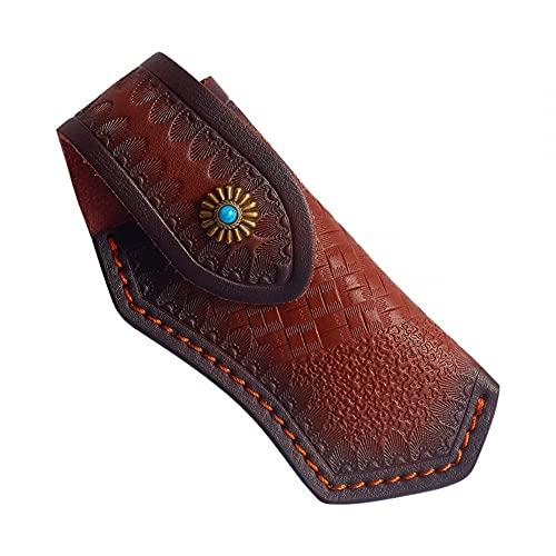 MiOYOOW Messerscheide Leder, Lederhülle Leder-Etui für Taschenmesser, Klappmesser