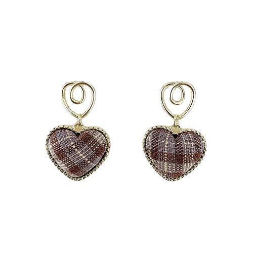 S925 aguja de plata retro pendientes de amor de celosía literaria pendientes de otoño e invierno pendientes en forma de corazón pendientes