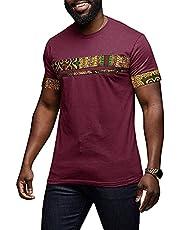Makkrom Mens African Tribal Dashiki Floral Short Sleeve Graphic T Shirt Blouse Tops