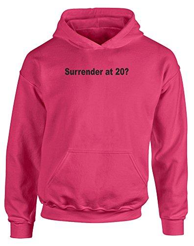 (降伏 20歳で?) Surrender At 20?, 子供用 プリント Tシャツ - ホット ピンク/黒 12-13 歳