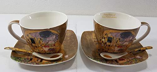 Marco Polo Kaffeetasse Teetasse Tassen aus Porzellan mit Unterteller Gustav Klimt - der Kuss Gold