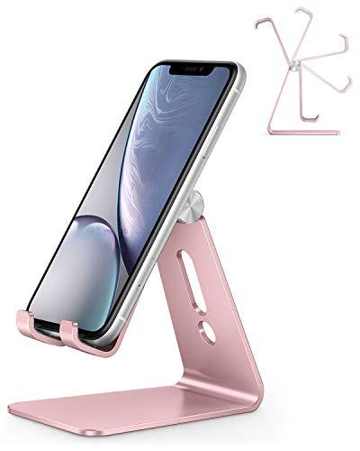 OMOTON Phone Ständer, Handy Ständer kompatibel mit iPhone SE 2020/11 pro max/11 pro/XR/11/Xs/8/8 Plus/7/7 Plus, Multi-Winkel Phone Stand für Huawei, Samsung, andere Smartphone, Rosegold